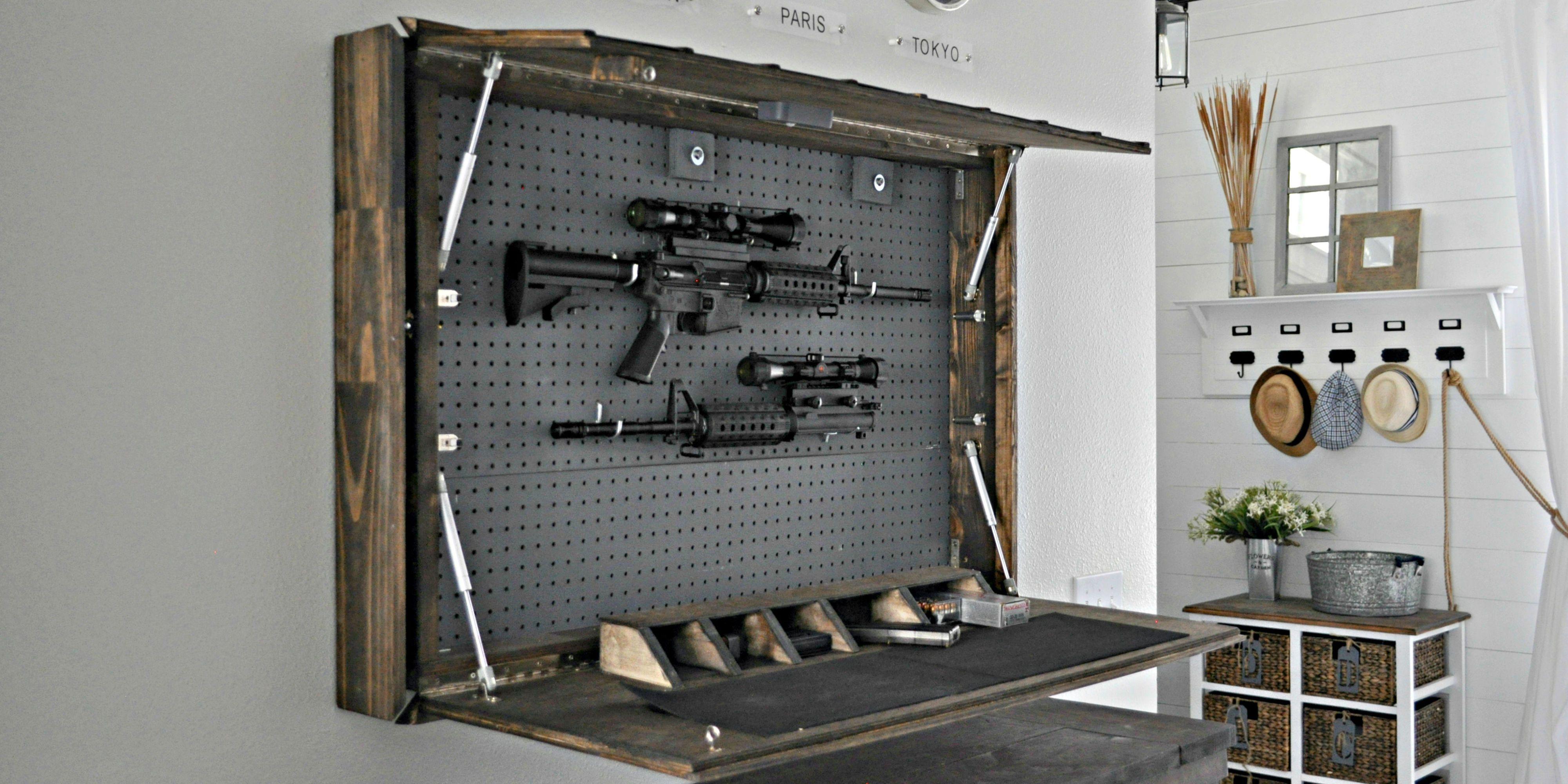 Secret DIY Gun Compartment Hides Behind a Mirror