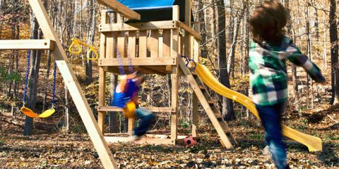 "<p>Your kids have been itching to get outside all winter. Indulge their desire to play by building a wooden playset that includes a swing, slide, fort, and more. This one is built from a kit and lumber you can buy at your local home center. The little ones will never need to go to the playground again.</p><p><a href=""http://www.popularmechanics.com/home/outdoor-projects/how-to/a7670/how-to-build-this-backyard-swing-set/"">How to Build a Backyard Playset</a></p>"