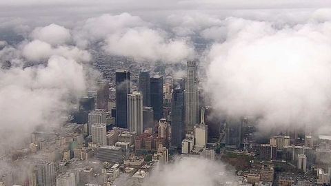 Rain clouds hovering over Los Angeles