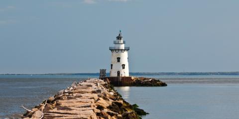 Body of water, Coastal and oceanic landforms, Tower, Coast, Shore, Water, Beacon, Waterway, Sea, Ocean,