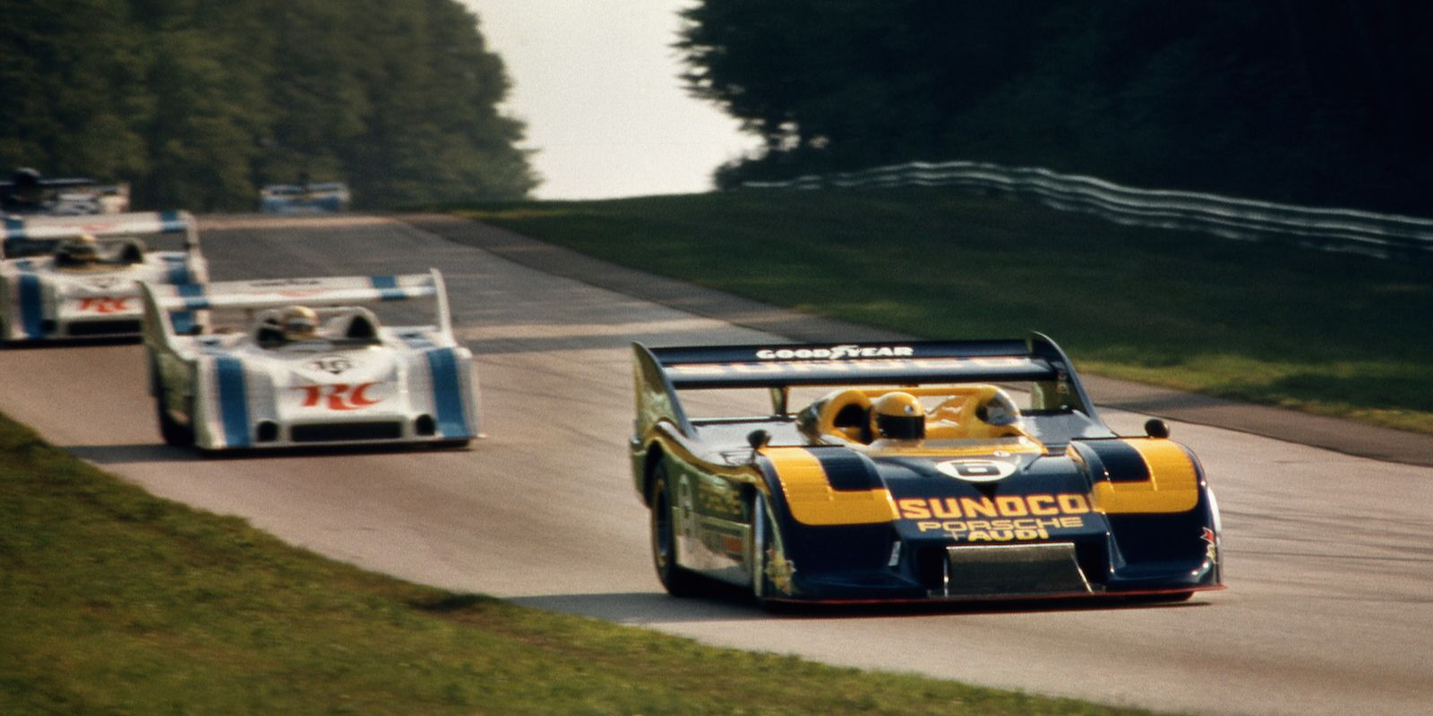 ELKHART LAKE, WI - AUGUST 26: Mark Donohue leads the field in the Porsche 917/30 003 enroute to winning the Can-Am race on August 26, 1973, at Road America near Elkhart Lake, Wisconsin. (Photo by Bob Harmeyer/Archive Photos/Getty Images)