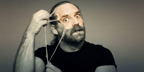 Facial hair, Cheek, Skin, Eyebrow, Moustache, T-shirt, Jaw, Beard, Neck, Smoking,