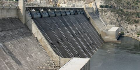 Infrastructure, Water resources, Dam, Slope, Reservoir, Concrete, Composite material, Channel, Chute, Stadium,