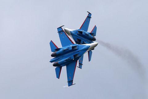 Airplane, Blue, Aircraft, Event, Fighter aircraft, Jet aircraft, Military aircraft, Aviation, Flight, Aerospace engineering,
