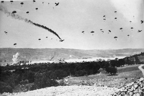 <p>One of the most audacious operations in the German conquest of Europe was the air assault on the Greek island of Crete, the first action in which paratroopers were dropped in large numbers. Crete was defended by British and Greek forces who had some success against the lightly armed German soldiers jumping out of the sky. However, delays and communication failures between Allies allowed the Germans to capture the vital airfield at Maleme and fly in reinforcements. Once the Nazis gained air superiority, landings by sea followed. The Allies surrendered after two weeks of fighting.</p>
