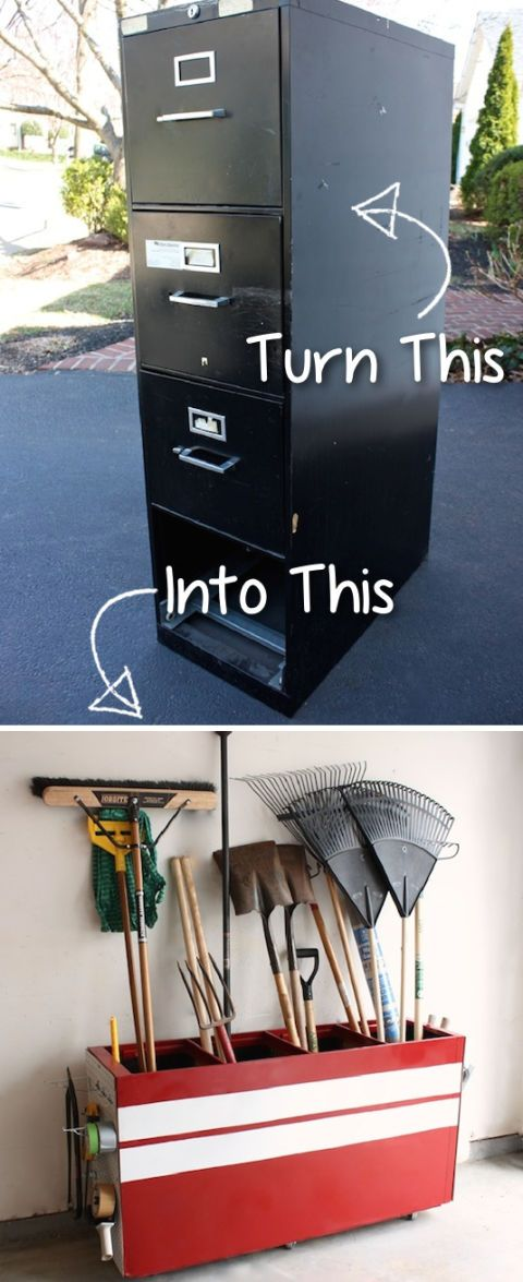 "<p>A transformed filing cabinet is the perfect place to store rakes, shovels, and more. </p><p><strong>Get the tutorial at <a href=""http://blog.tttreasure.com/2012/turning-your-old-file-cabinet-into-a-garage-storage-favorite/"" target=""_blank"">Trash to Treasure Blog</a></strong><strong>. </strong></p>"