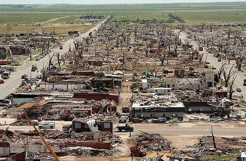 "<p>The localized, devastating effects of great tornadoes can wipe a city off the map while leaving its neighbors nearly untouched. In 2007 the unlucky victim was Greenburg. About 95 percent of the town was destroyed, and the rest severely damaged. Eleven people were killed and about half the population left for good. </p><p>Afterward, the town decided to rebuild in an unusual way: by living up to its name. All new buildings are Leadership in Energy and Environmental Design (LEED) certified and run on <a href=""http://www.go100percent.org/cms/index.php?id=70&tx_ttnews%5Btt_news%5D=59"">100 percent renewable energy</a>. Of the rebuilding efforts, <a href=""http://www.npr.org/2014/02/09/274227035/kansas-mayor-says-sustainability-is-about-community-not-politics"">Mayor Bob Dixson said</a>, ""we realized our heritage and ancestors were based on those sustainable, green principles."" </p>"