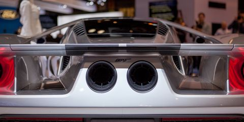 "<p>Flying buttresses are all the rage right now, but no car uses them as heavily as the new <a href=""http://www.roadandtrack.com/new-cars/future-cars/a29020/how-the-2017-ford-gt-stacks-up-against-its-rivals/"" target=""_blank"">Ford GT</a>. The car channels air through the bodywork, alongside the passenger compartment and through the rear wing to generate real downforce, even when the active rear wing is lowered.</p>"