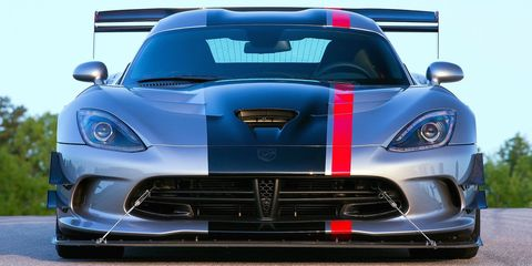 "<p>The big wing, huge front splitter, and dive planes on the <a href=""http://www.roadandtrack.com/new-cars/road-tests/reviews/a27240/2016-dodge-viper-acr-drive/"" target=""_blank"">Dodge Viper ACR</a> are probably the most in-your-face aerodynamic features on this list, but they're also some of the most effective. With the optional Extreme Aero Package, the ACR generates legitimate race car levels of downforce. So much downforce, that it can <a href=""http://www.roadandtrack.com/car-culture/news/a29151/dodge-viper-acr-towing-economy/"" target=""_blank"">reduce your MPG even when you're towing it</a>. Seriously.</p>"