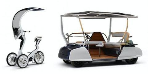 Mode of transport, Automotive design, Product, Transport, Automotive mirror, Golf cart, Automotive exterior, Fender, Windshield, Black,