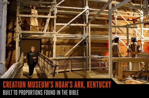 <p>Whatever you think about the Creation Museum in Kentucky, you have to admire the construction prowess that went into the site's Noah's Ark. Built to proportions found in the Bible, it measures 510 feet long, 90 feet (five stories) high, and is made of more than 600 miles of wood planks. One of the largest wood-framed buildings in the world, this museum exhibit gets a little help from concrete to hold it upright on dry land.</p>