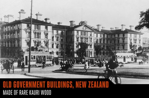 <p>Built in the late 1870s, the Government Buildings Historic Reserve in Wellington was the world's second-largest wooden building for more than a century. With concrete prices forcing builders to turn fully to wood, the four-story structure was built using kauri wood. Kauri is now a protected type of forest in New Zealand, so you won't see another structure like this anytime soon.</p>