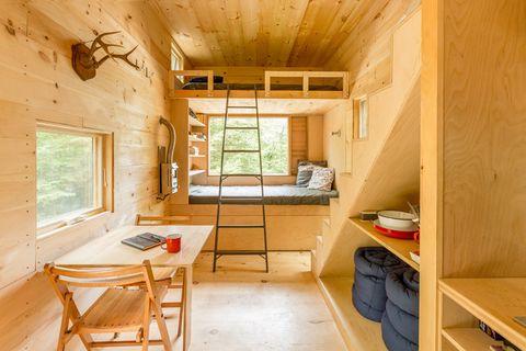 Wood, Room, Window, Floor, Interior design, Ceiling, Flooring, Furniture, Shelf, Shelving,
