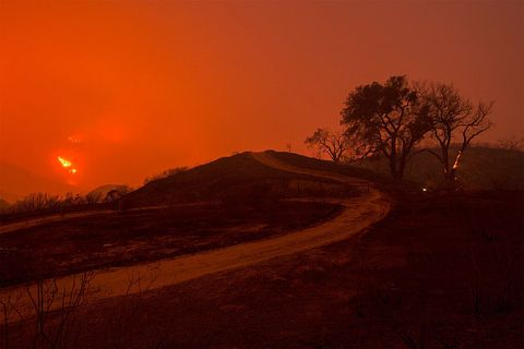 Landscape, Slope, Amber, Orange, Atmospheric phenomenon, Ecoregion, Hill, Sunlight, Sunset, Geological phenomenon,