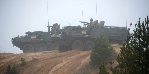<p>While a lot of armored fighting vehicles use tracks, the Stryker makes do with eight wheels instead. That gives it a relatively high top speed of 60 mph. Under the hood, it uses a Caterpillar C7 that makes 1028 lb.-ft. of torque.</p>