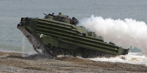 <p>The AAV, or Amphibious Assault Vehicle, is a landing vehicle that can transport troops pretty much anywhere. And while it's a relatively old design, recent upgrades have given it new life. That included the engine, which is now a Cummins VTA-525 that makes 1127 lb.-ft. of torque.</p>