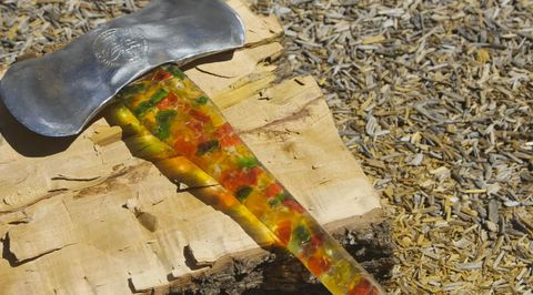 Yellow, Leaf, Colorfulness, Kitchen utensil, Natural material, Art paint, Tool, Visual arts, Paint, Cutlery,
