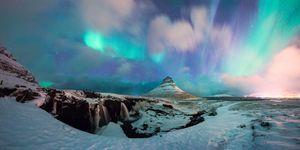 Spectacular Northern Lights over Kirkjufell Mountain Snæfellsnes peninsula, near the town of Grundarfjörður Iceland.