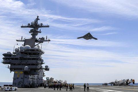 Sky, Cloud, Naval ship, Aircraft, Military aircraft, Travel, Aircraft carrier, Navy, Supercarrier, Airplane,