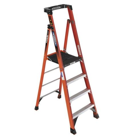 "<p><strong data-redactor-tag=""strong"">W</strong><strong data-redactor-tag=""strong"">EIGHT RATING:</strong>&nbsp&#x3B;300 lb</p><p><strong data-redactor-tag=""strong"">LIKES:</strong>&nbsp&#x3B;Combines the best features of a stepladder and a scaffold in an easy-to-use product. The top work surface is a roomy 16 by 19 ½ inches, with four slots for debris from your work boots to fall through, and an arched guardrail that allows you to work safely while facing any direction. The rail also has clips to hold Werner Job Buckets.</p><p><strong data-redactor-tag=""strong"">DISLIKES:</strong>&nbsp&#x3B;None.</p><p><strong data-redactor-tag=""strong"">WEIGHT:</strong>&nbsp&#x3B;22 lb</p>"