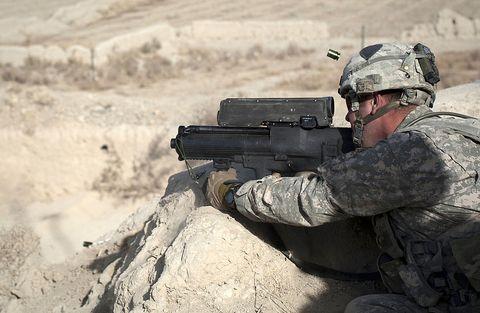 Soldier, Military person, Gun, Military uniform, Military camouflage, Firearm, Shooting, Landscape, Machine gun, Helmet,