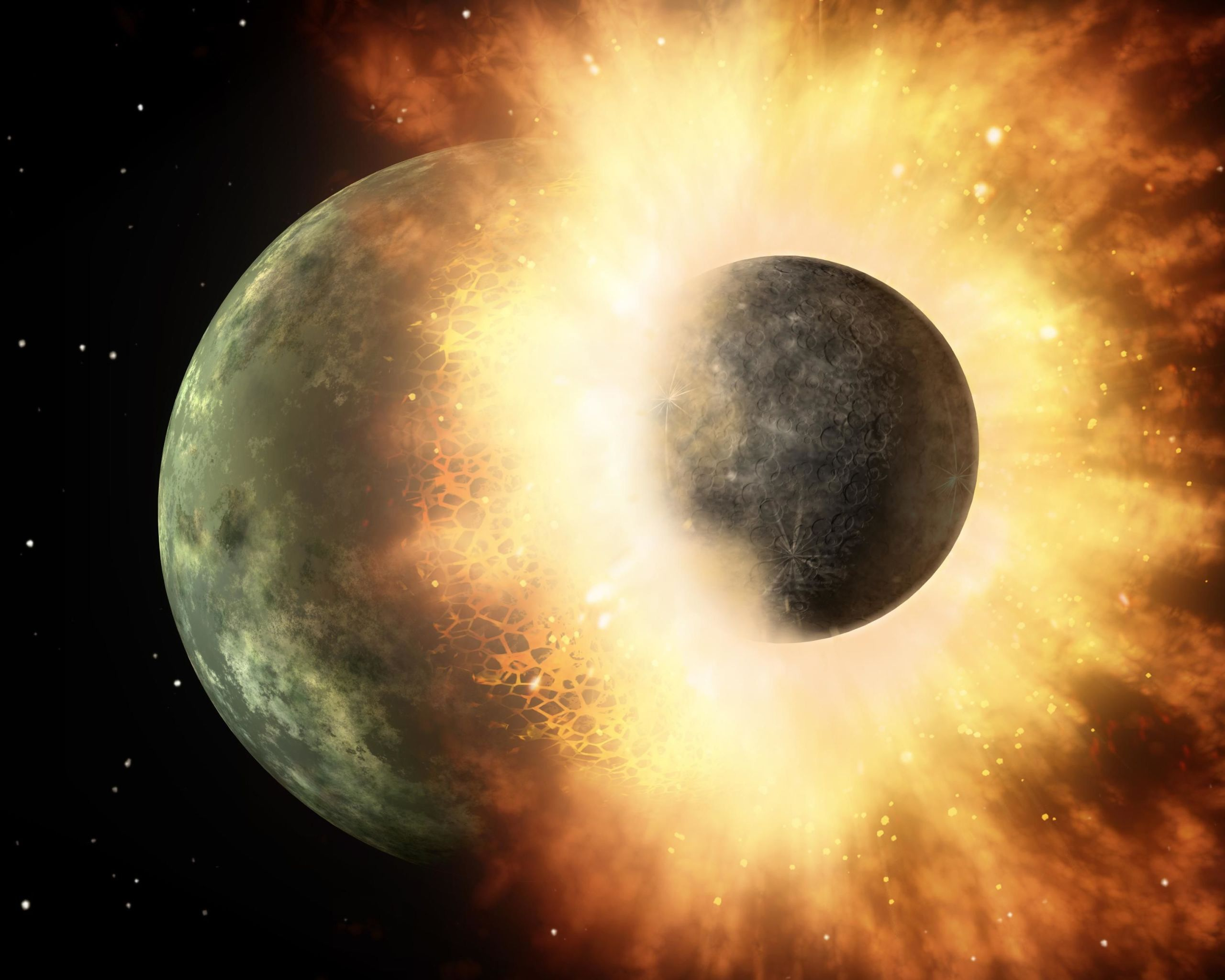 "Impact That Created the Moon Pulverized the Earth ""Like a Sledgehammer Hitting a Watermelon"""