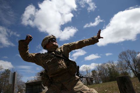 Sky, Cloud, Soldier, Cumulus, Glove, Goggles, Camouflage, Boot, Military camouflage, Costume,
