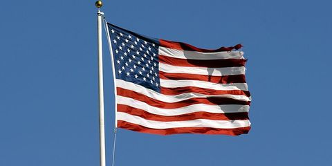 Flag, Blue, Nature, Daytime, Natural environment, Flag of the united states, Event, Atmosphere, Photograph, Red,