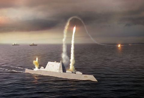 <p>An illustration of the proposed USS Zumwalt in action. This ship is eventually named after Elmo Zumwalt, the youngest Chief of Naval Operations to ever serve.</p>