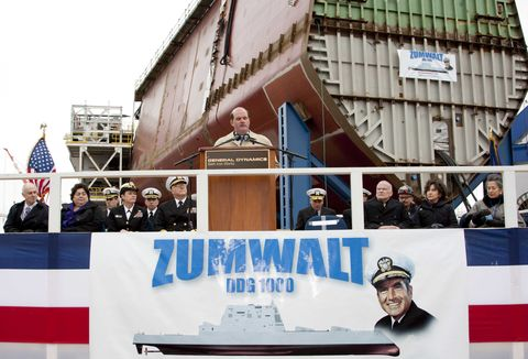 <p>Every ship begins with the keel on which the rest of the hull is built. This is the Zumwalt's keel laying ceremony in November 2011 at the Bath Iron Works in Maine. </p>