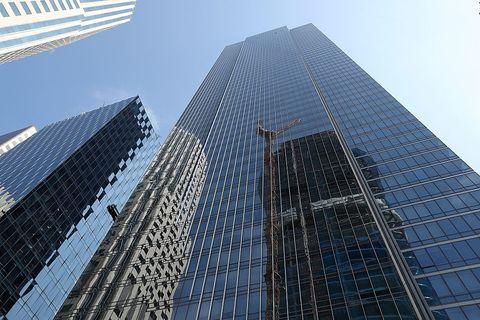Tower block, Blue, Metropolitan area, Daytime, Architecture, City, Property, Urban area, Skyscraper, Facade,