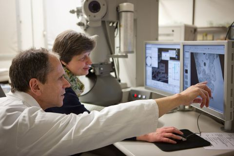 Scientists Using an Electron Microscope