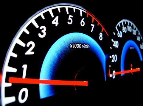Analog speedometer of a car showing round per minute indicator and velocity indicator.
