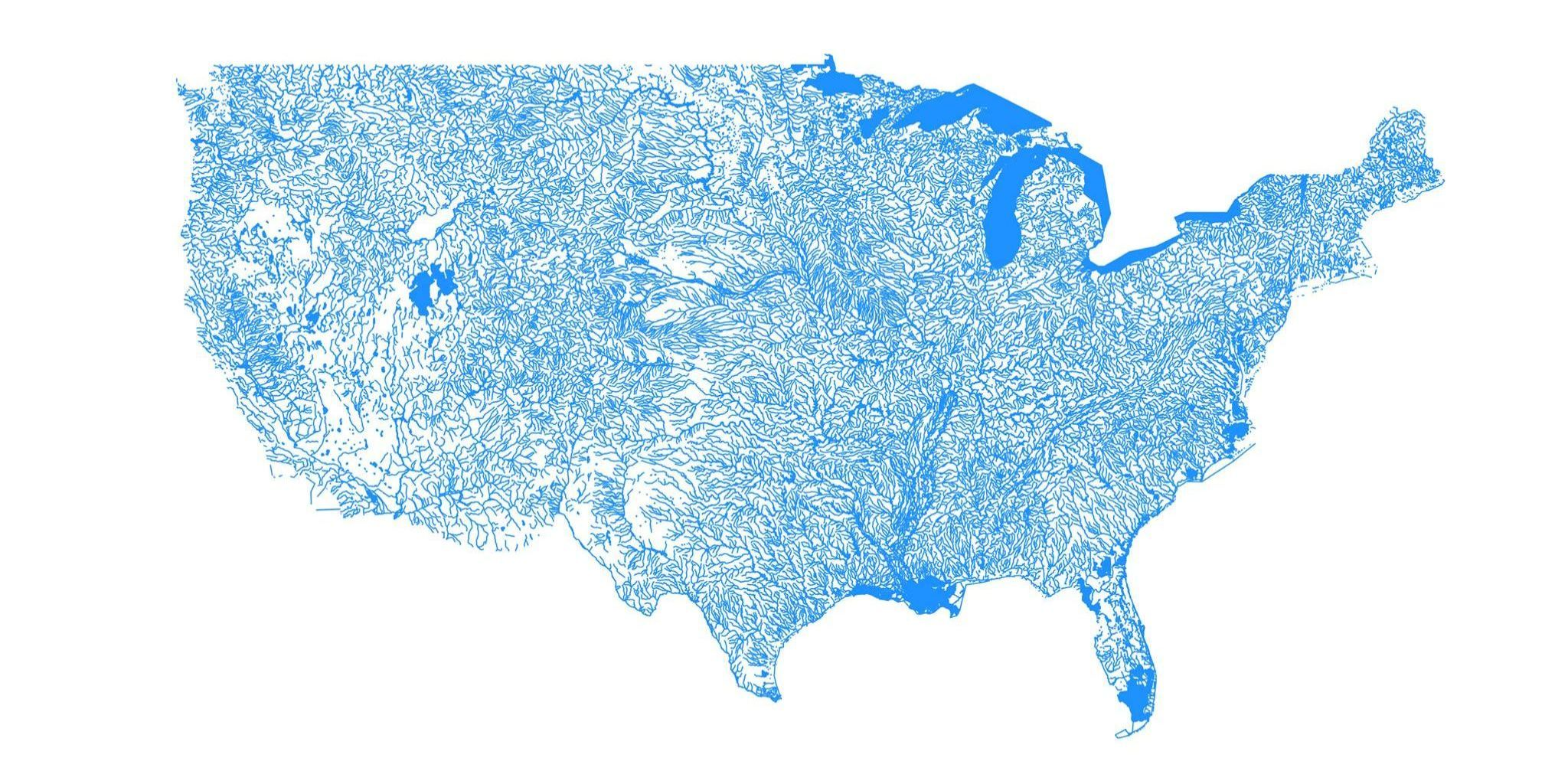Gorgeous Map Shows the United States as Only Bodies of Water