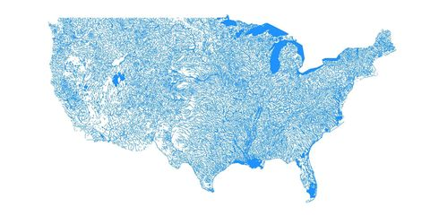 Gorgeous Map Shows The United States As Only Bodies Of Water - Bodies-of-water-us-map
