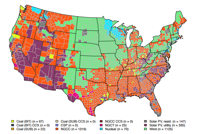 Heres The Cheapest Kind Of Power Plant To Build In Every US County - Coal power plants in us map