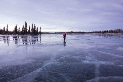 Water, Ice skate, Winter, Freezing, Ice, Lake, Reflection, Evening, Ice hockey equipment, Skating,