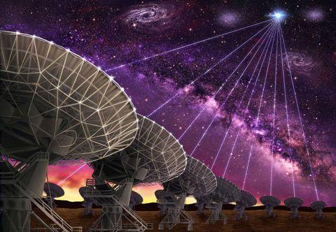 Sky, Purple, Light, Violet, Night, Technology, Space, Atmosphere, Radio telescope, Fun,