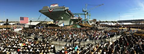 Crowd, People, Audience, Watercraft, Naval architecture, Boat, Public event, Naval ship, Ship, Water transportation,