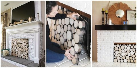 Stacked Wood Screens Are Certainly One Way to Cover Your Fireplace