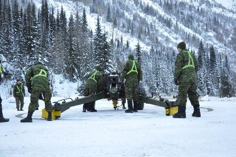 Winter, Snow, Freezing, Military uniform, Army, Cargo pants, Military person, Crew, Precipitation, Frost,