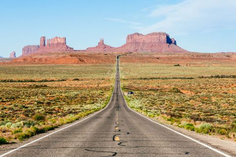Road, Natural landscape, Infrastructure, Landscape, Butte, Plateau, Ecoregion, Rock, Bedrock, Geology,