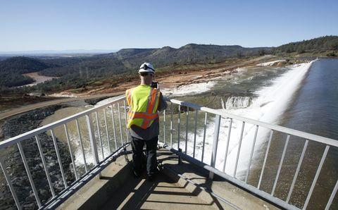 Water resources, Water, High-visibility clothing, Guard rail, Workwear, Helmet, River, Reservoir, Bridge, Fluvial landforms of streams,
