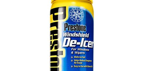 """<p><span style=""""background-color: initial;"""">Estimated spray range: 8 ft&nbsp;</span><br></p><p>The densely focused stream and aggressive propellant make this a good choice for tall or broad windshields. Melts ice aggressively and keeps on melting. There's even a somewhat-effective scraper built into the can for particularly tough ice.&nbsp;</p><p><a href=""""https://www.amazon.com/Prestone-Windshield-De-Icer-11-oz/dp/B000R2Z9E8/ref=sr_1_2?s=automotive&amp;ie=UTF8&amp;qid=1487087462&amp;sr=1-2&amp;keywords=Prestone+Windshield+De-Icer"""" data-tracking-id=""""recirc-text-link"""">Price: $12</a></p>"""