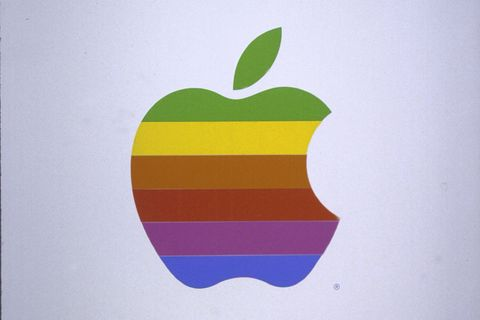 Colorfulness, Apple, Logo, Fruit, Granny smith, Rectangle, Operating system, Graphics, Malus, Produce,