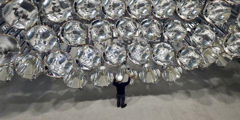 Circle, Silver, Aluminium, Ceiling fixture, Steel, Shadow,