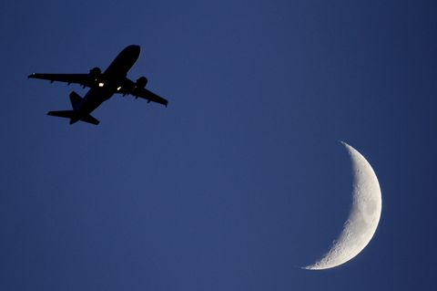 Sky, Airplane, Air travel, Moon, Flight, Airline, Aircraft, Aviation, Vehicle, Airliner,