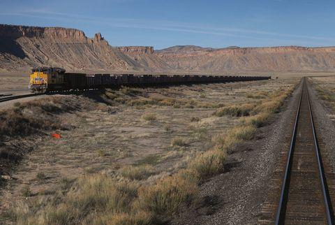 Transport, Track, Badlands, Line, Ecoregion, Railway, Train, Rock, Vehicle, Landscape,