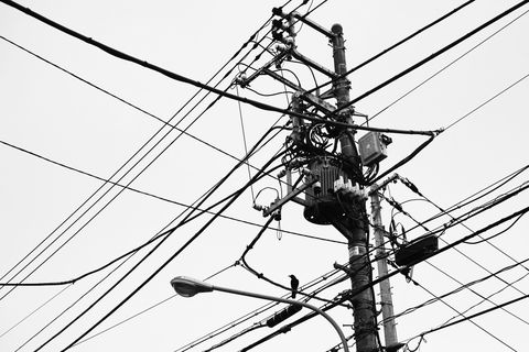 Electricity, Electrical supply, Overhead power line, Line, Wire, Black-and-white, Public utility, Monochrome, Monochrome photography, Parallel,