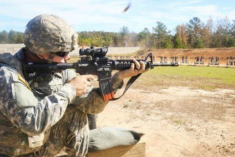 Soldier, Gun, Shooting, Military person, Firearm, Military uniform, Military camouflage, Machine gun, Gun barrel, Shotgun,